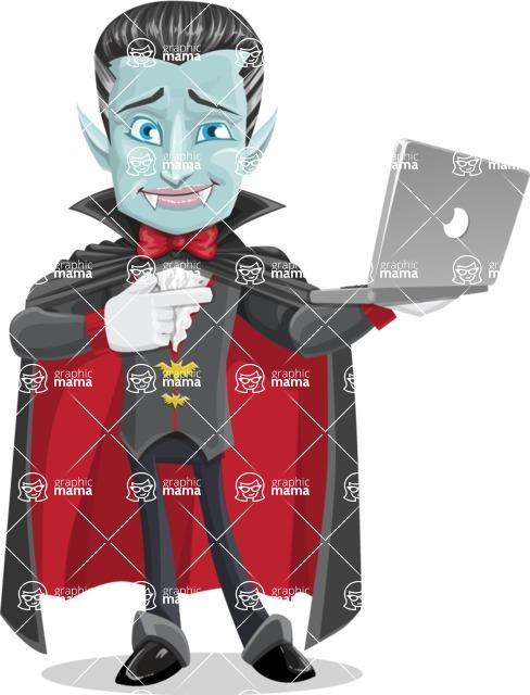 Halloween Vampire Vector Cartoon Character - Holding a Laptop