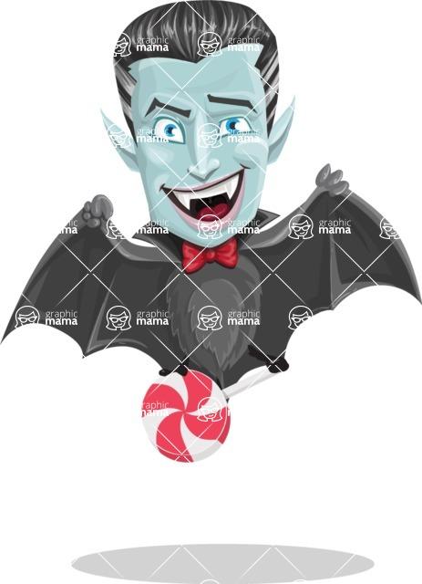 Halloween Vampire Vector Cartoon Character - Holding a Treat