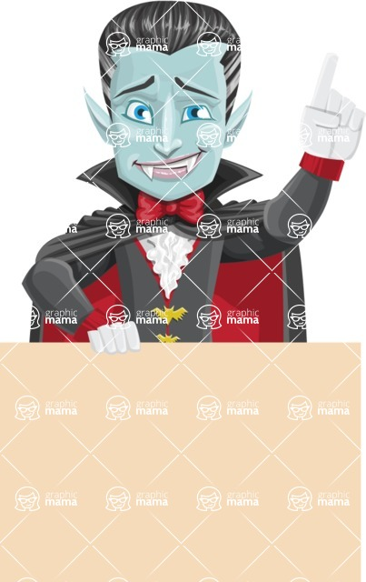 Halloween Vampire Vector Cartoon Character - Holding Blank Presentation Sign and Making a Point