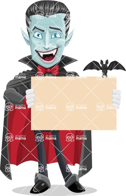 Halloween Vampire Vector Cartoon Character - Holding Blank Presentation Sign for Halloween