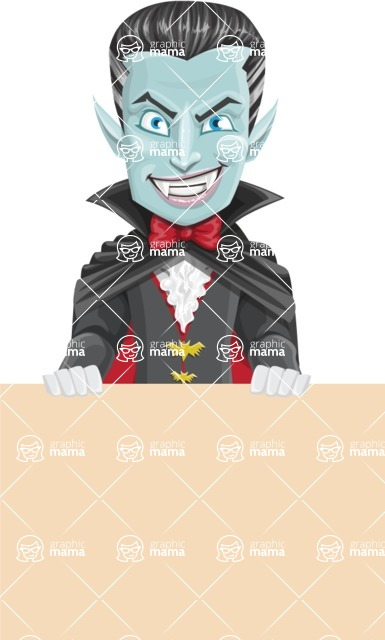 Halloween Vampire Vector Cartoon Character - Holding Blank Sign and Smiling