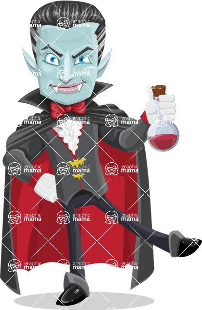 Halloween Vampire Vector Cartoon Character - Holding Potion