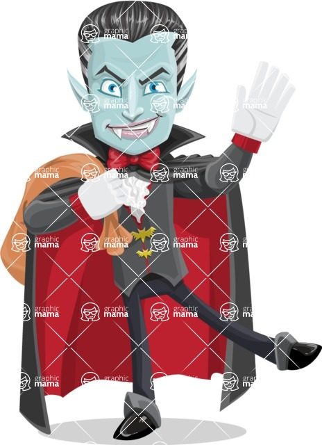 Halloween Vampire Vector Cartoon Character - Holding Sack with Candies