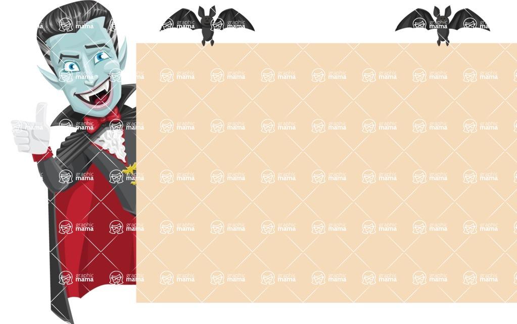 Halloween Vampire Vector Cartoon Character - Making a Presentation on a Whiteboard