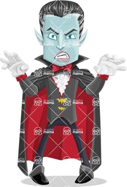 Halloween Vampire Vector Cartoon Character - Making Scary Face