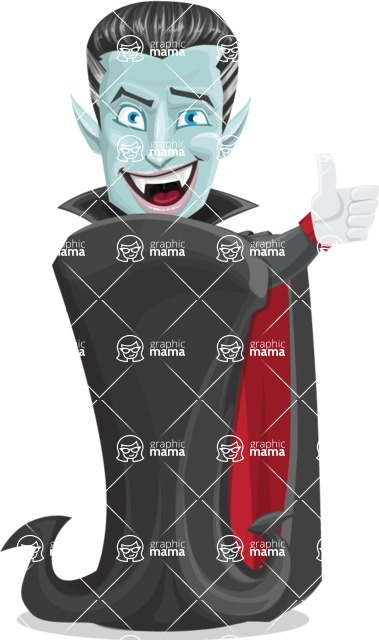Halloween Vampire Vector Cartoon Character - Making Thumbs Up