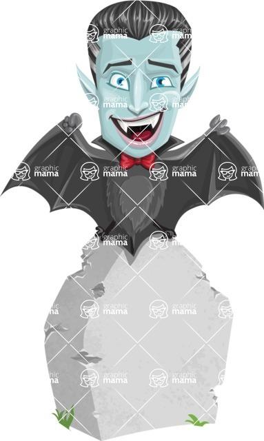 Halloween Vampire Vector Cartoon Character - On a Graveyard