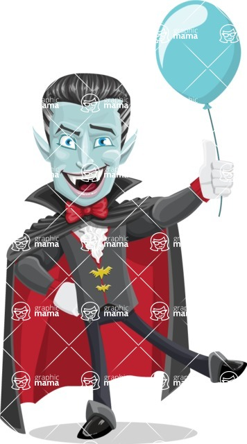 Halloween Vampire Vector Cartoon Character - On a Party with a Balloon