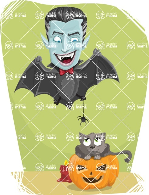 Halloween Vampire Vector Cartoon Character - Playing with Cat Colorful Illustration