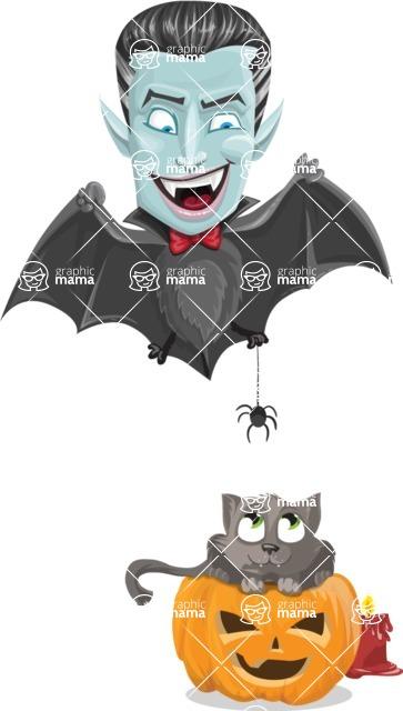 Halloween Vampire Vector Cartoon Character - Playing With Cat on Halloween