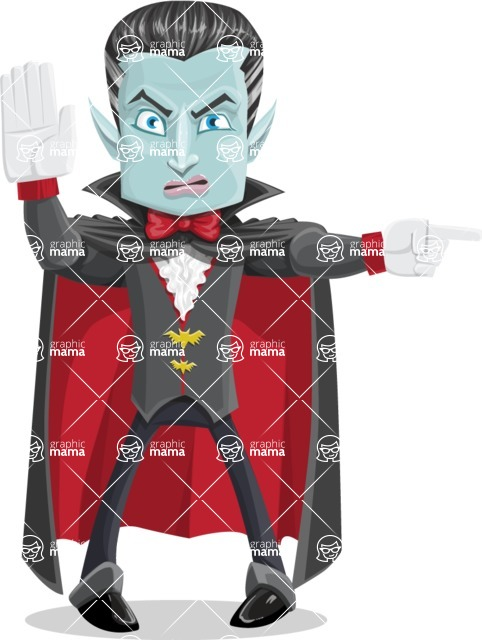 Halloween Vampire Vector Cartoon Character - Pointing with a Finger