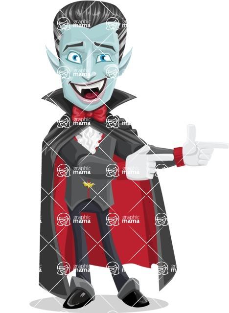 Halloween Vampire Vector Cartoon Character - Pointing with Hands