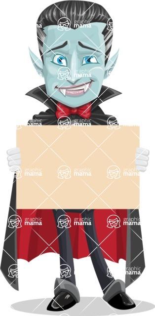Halloween Vampire Vector Cartoon Character - Presenting on a Blank Halloween Sign