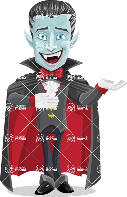Halloween Vampire Vector Cartoon Character - Presenting with Both Hands