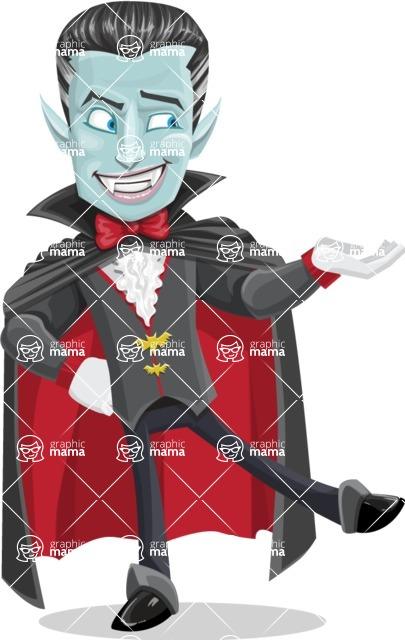 Halloween Vampire Vector Cartoon Character - Presenting