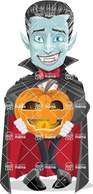 Halloween Vampire Vector Cartoon Character - Holding a Pumpkin Lantern