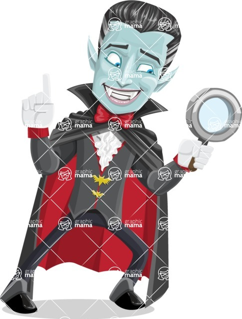 Halloween Vampire Vector Cartoon Character - Searching