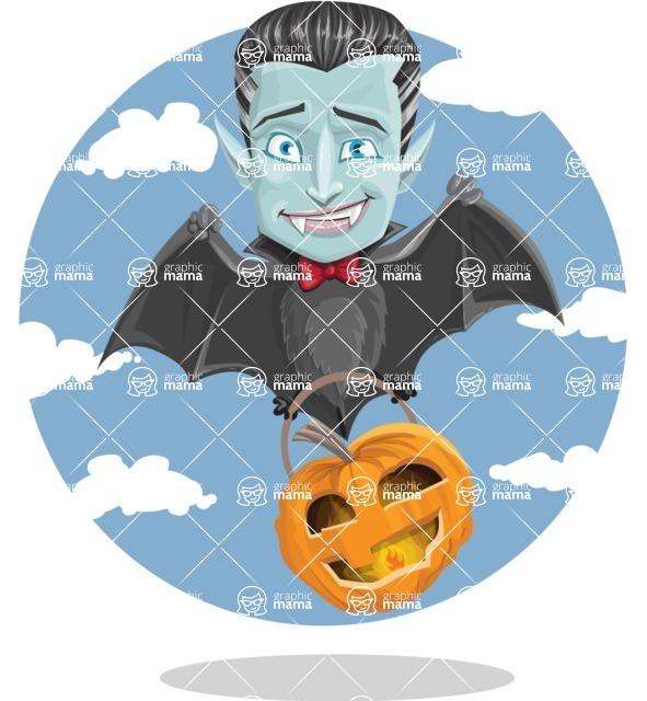 Halloween Vampire Vector Cartoon Character - Flying with Sky Background