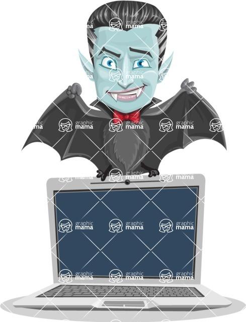 Halloween Vampire Vector Cartoon Character - Showing a Laptop