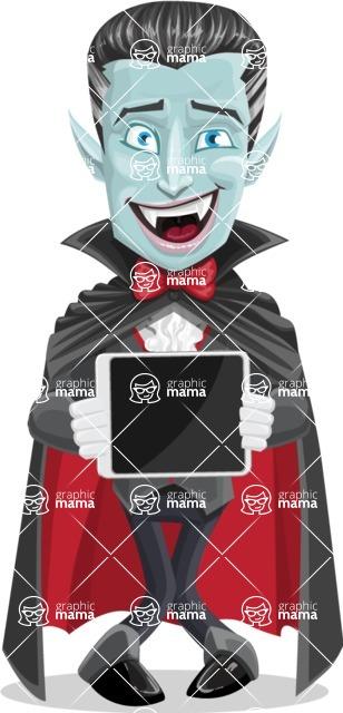 Halloween Vampire Vector Cartoon Character - Showing on a Blank Tablet