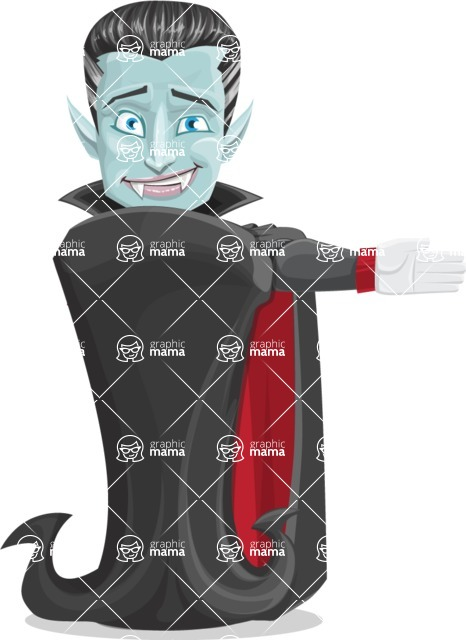 Halloween Vampire Vector Cartoon Character - Showing witha Smile
