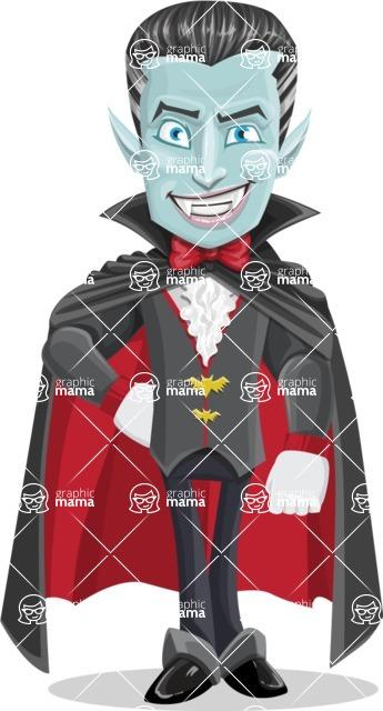 Halloween Vampire Vector Cartoon Character - Smiling