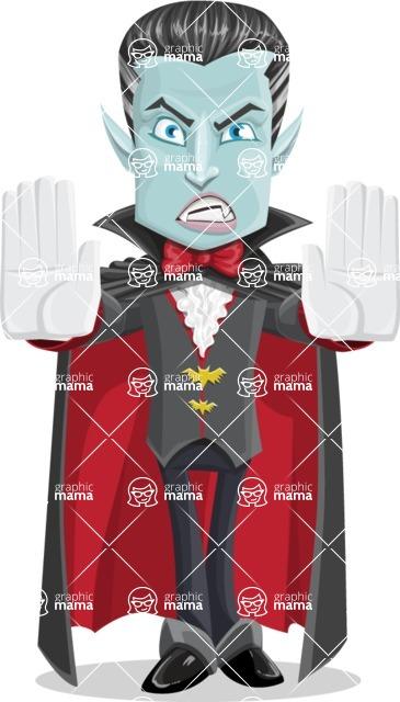 Halloween Vampire Vector Cartoon Character - Stopping with Hands