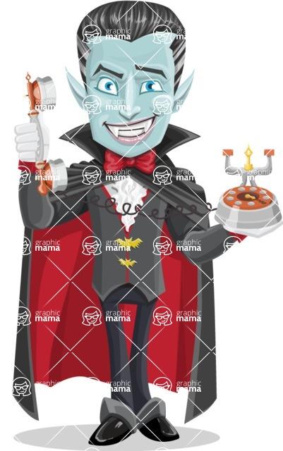 Halloween Vampire Vector Cartoon Character - Talking on Phone