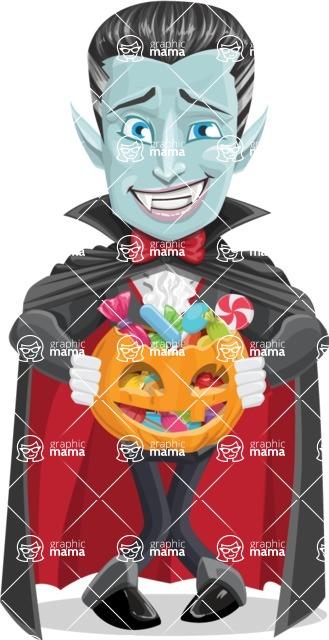 Halloween Vampire Vector Cartoon Character - Trick Or Treating