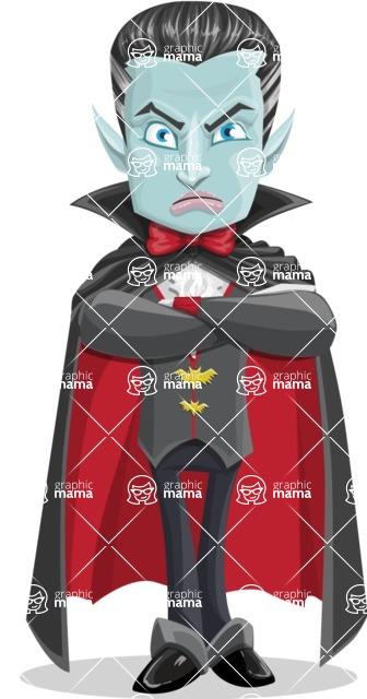 Halloween Vampire Vector Cartoon Character - Waiting with Crossed Hands