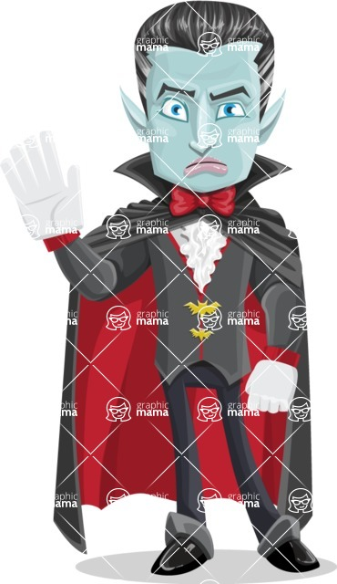 Halloween Vampire Vector Cartoon Character - Waving for Goodbye with a Hand