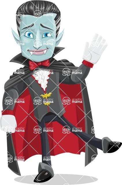 Halloween Vampire Vector Cartoon Character - Waving