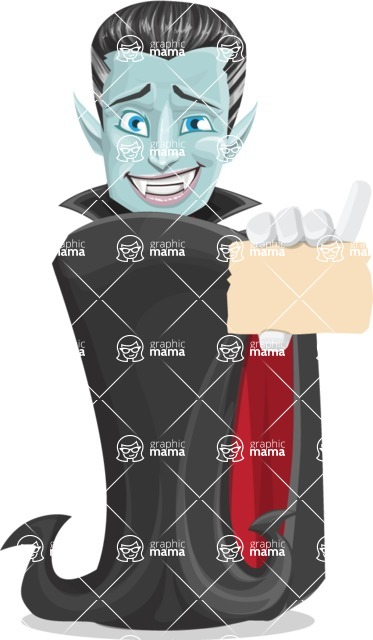 Halloween Vampire Vector Cartoon Character - With a Blank Business Card