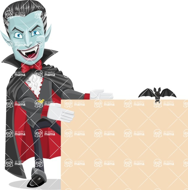 Halloween Vampire Vector Cartoon Character - With a Blank Halloween Sign with a Bat