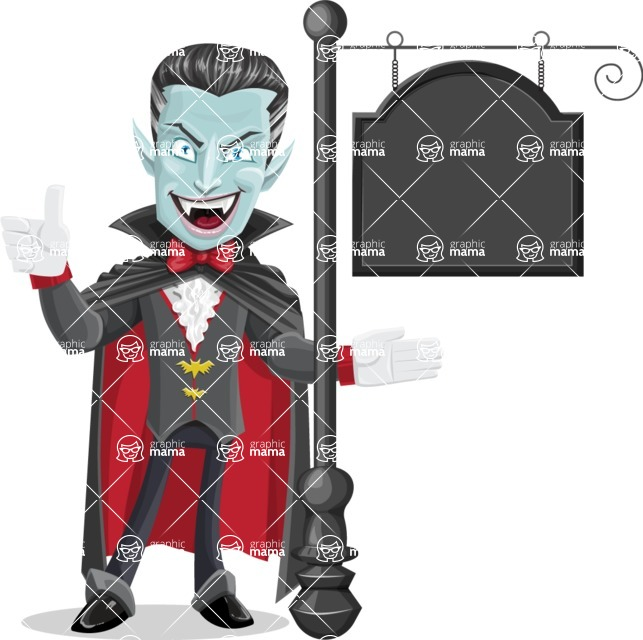 Halloween Vampire Vector Cartoon Character - With a Blank Vintage Street Sign