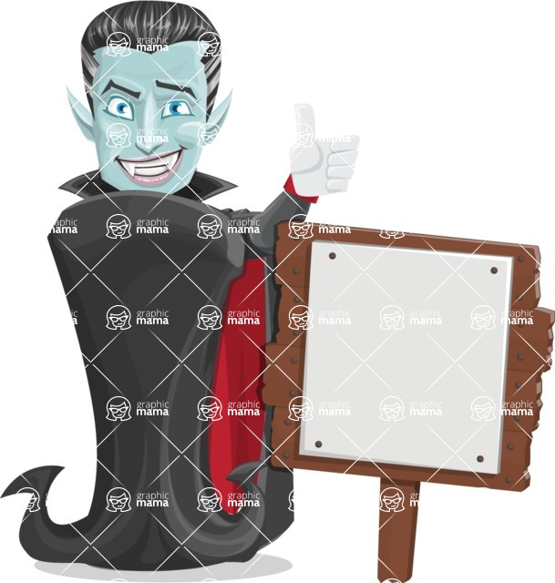 Halloween Vampire Vector Cartoon Character - With a Blank Wood Sign