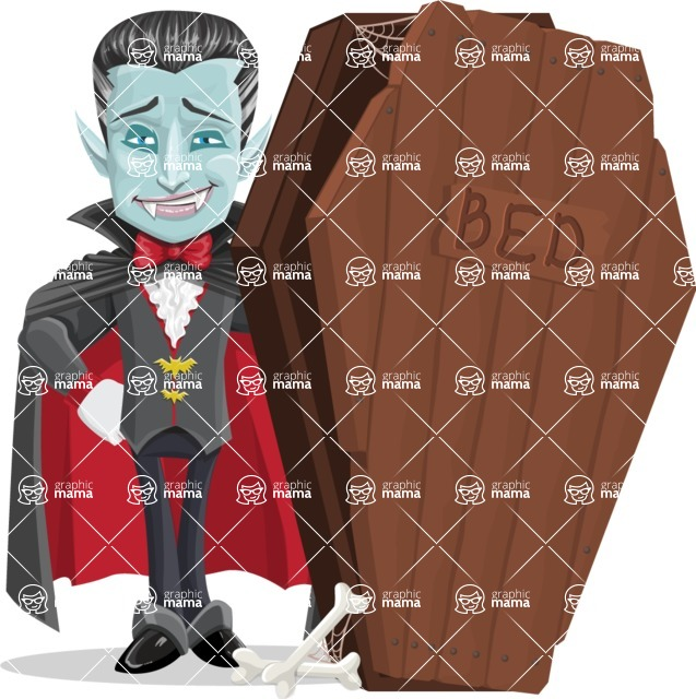 Halloween Vampire Vector Cartoon Character - With a Coffin as Bed