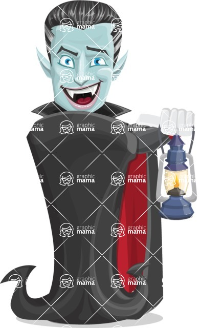 Halloween Vampire Vector Cartoon Character - With a Lantern