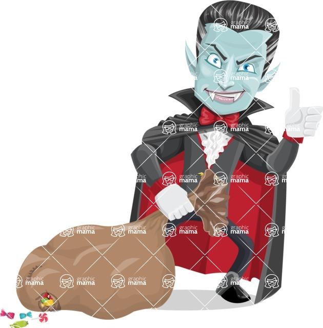 Halloween Vampire Vector Cartoon Character - With a lot of Halloween Treats