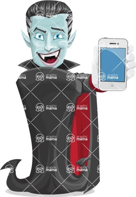 Halloween Vampire Vector Cartoon Character - With a Phone