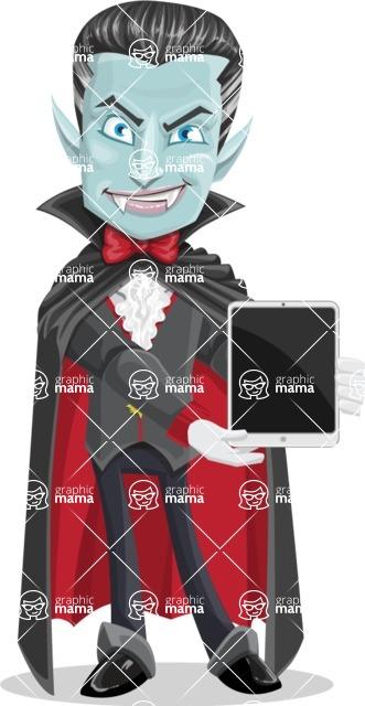 Halloween Vampire Vector Cartoon Character - With a Tablet