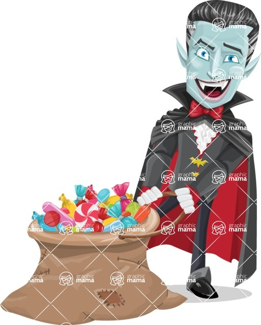 Halloween Vampire Vector Cartoon Character - With Bag full of Halloween Treats
