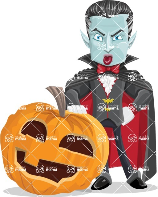 Halloween Vampire Vector Cartoon Character - With Big Halloween Pumpkin