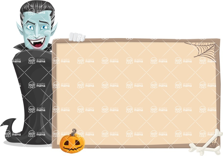 Halloween Vampire Vector Cartoon Character - With Blank Halloween Whiteboard