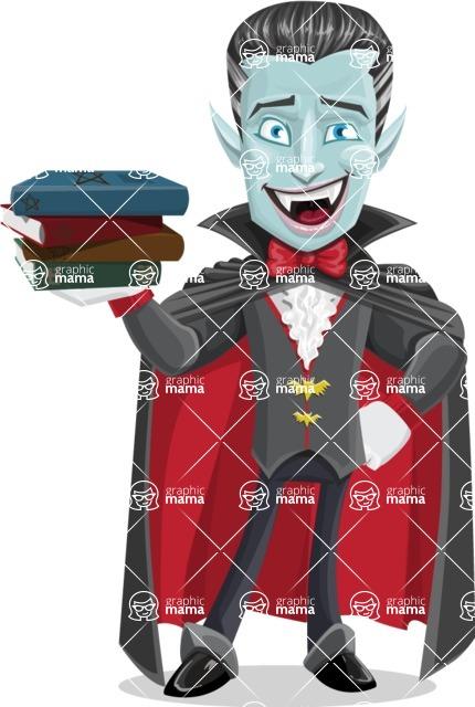 Halloween Vampire Vector Cartoon Character - With Books