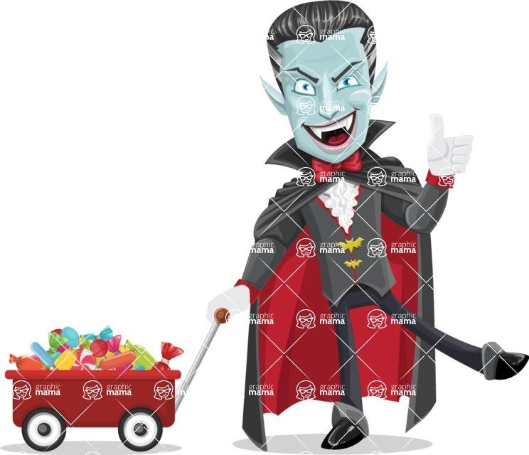 Halloween Vampire Vector Cartoon Character - With Candy Wagoon