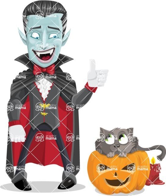 Halloween Vampire Vector Cartoon Character - With Cat