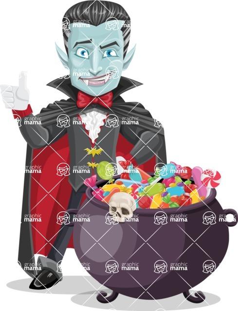Halloween Vampire Vector Cartoon Character - with Cauldron full of Sweets