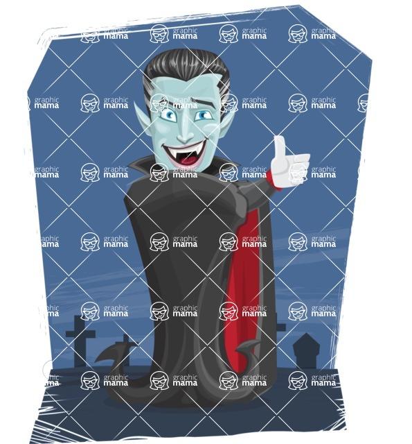 Halloween Vampire Vector Cartoon Character - With Graveyard Background