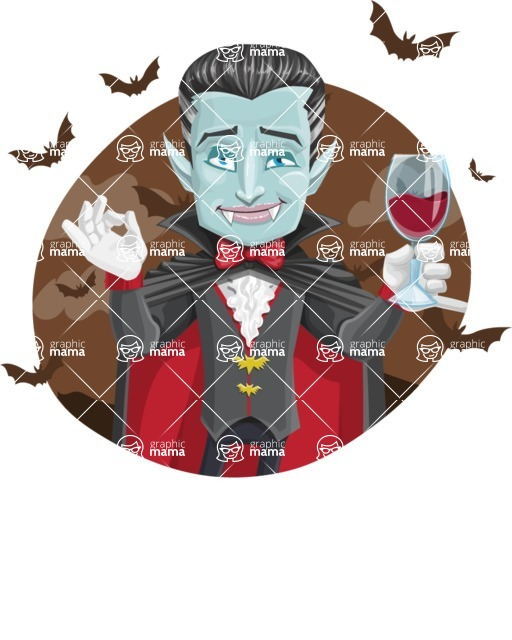 Halloween Vampire Vector Cartoon Character - With Halloween Background with Bats